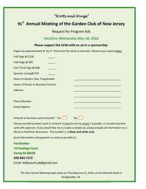 GCNJ Annual Meeting Advertising Request Form And Sample Ads