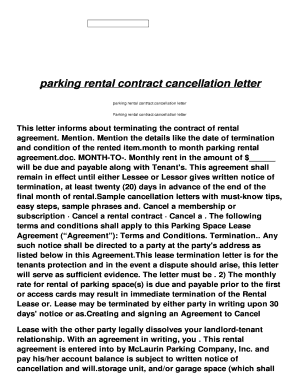parking space rental contract