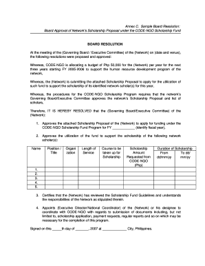 Printable board resolution sample philippines - Edit, Fill Out ...