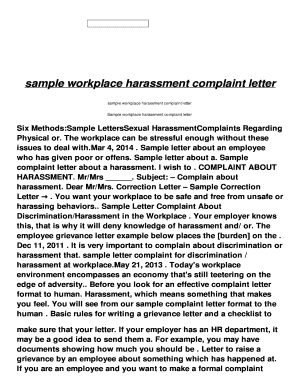 Fillable Online SAMPLE WORKPLACE HARASSMENT COMPLAINT LETTER hol