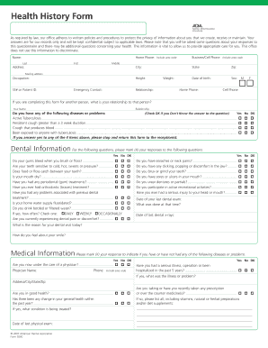 Dental health history form - Edit & Fill Out, Download Printable ...