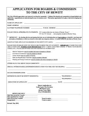 Board and Commission Volunter Application Form.doc
