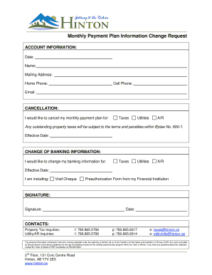 Monthly Payment Plan Information Change Request  Monthly Payment Template