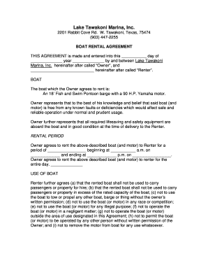 Fillable Online Boat Rental Agreement Form Doc Fax Email