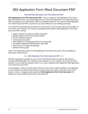 Fillable Online Z83 Application Form Word Document PDF  z83