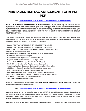 rental agreement form - Edit, Fill, Print & Download Online