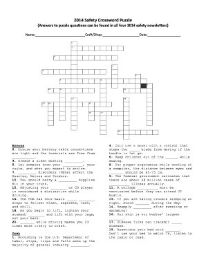 Fillable Online Facilitiesservices Utexas 2014 Safety Crossword