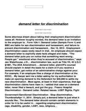 Fillable employee demand letter sample - Edit Online, Print