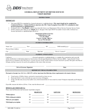 Fillable Online dds ga Vision Form (DS-274) - Department of