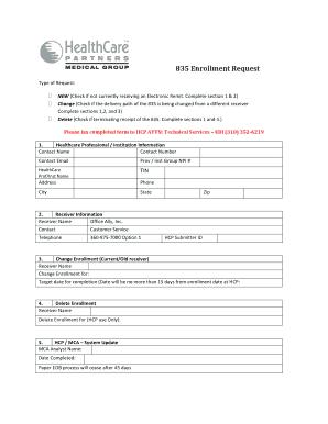 Fillable Online 835 Enrollment Request - cms.officeally.com Fax ...