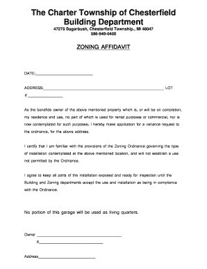 Affidavit Of Loss Template. Zoning Affidavit   Chesterfield Township  Affidavit Of Loss Template