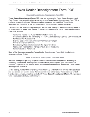 Fillable Online Texas Dealer Reassignment Form PDF. texas dealer ...