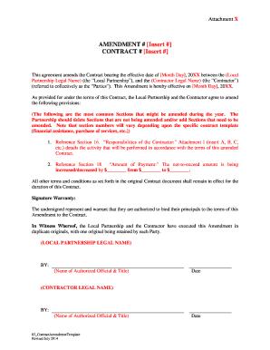 Contract Amendment Agreement Template