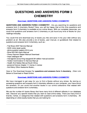 Form 3 Chemistry Questions And Answers Pdf - Fill Online, Printable