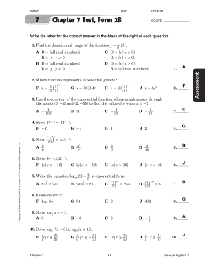 Fillable Online 7 Chapter 7 Test, Form 2B SCORE - chseagles.com ...