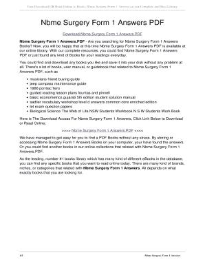 Fillable Online Nbme Surgery Form 1 Answers PDF  nbme surgery form 1