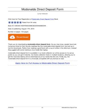 mcdonalds direct deposit form  Mcdonalds Direct Deposit Form - Fill Online, Printable ...