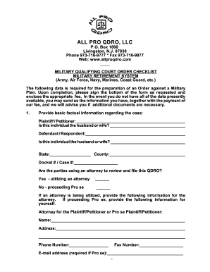 all pro qdro military qdro form - Printable Form Templates to Submit ...