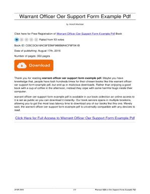 Fillable Online thailandholidays Warrant Officer Oer Support Form ...