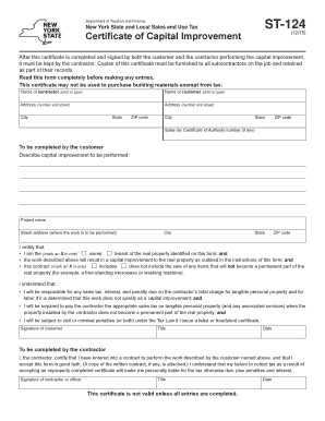 Fillable Online Form ST-124:(12/15):Certificate of Capital ...