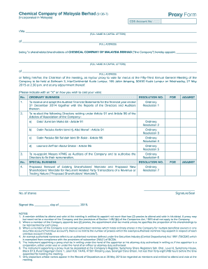 Fillable Online Chemical Company Of Malaysia Berhad Proxy Form Fax Email Print Pdffiller