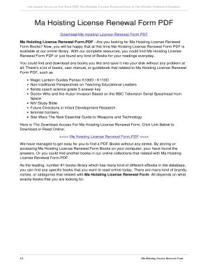 ma hoisting license renewal Fillable Online Ma Hoisting License Renewal Form PDF. ma hoisting ...