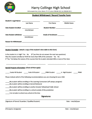 Student Withdrawal Form - Fill Online, Printable, Fillable, Blank ...