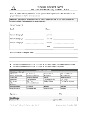 Fillable Online Expense Request Form