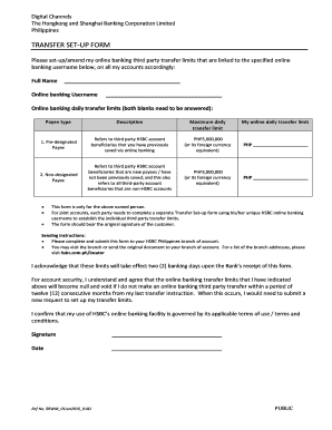 Fillable hsbc transfer limits Form Samples to Complete Online in PDF