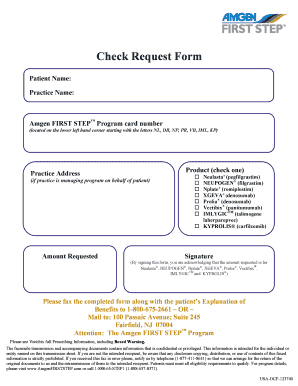 Fillable Online Check Request Form - Amgen FIRST STEP Fax