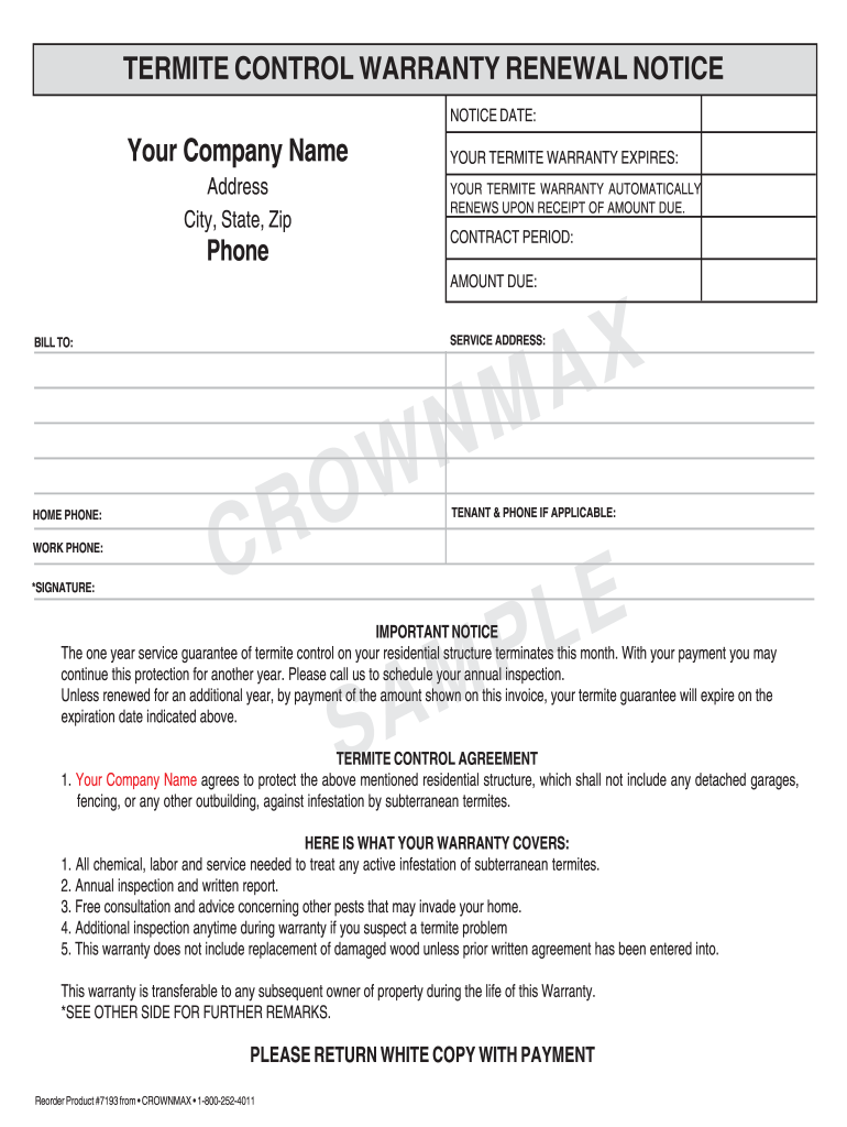 Termite Renewal Letter Fill Online Printable Fillable Blank Pdffiller