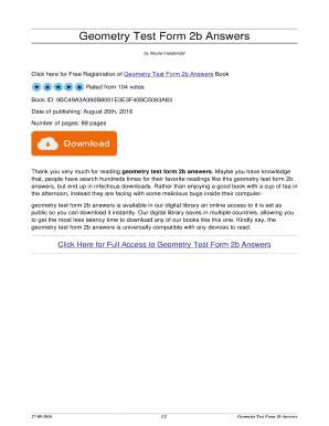 Fillable Online thanowho bitcoincatalog Geometry Test Form 2b ...
