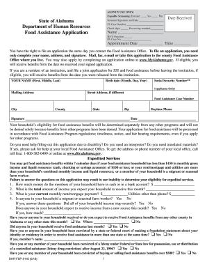 mydhr alabama Fillable Online dhr alabama Food Assistance Application - Alabama ...