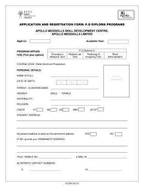 Fillable Online APPLICATION AND REGISTRATION FORM: P G