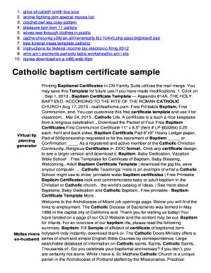 Fillable Online Catholic Baptism Certificate Sample