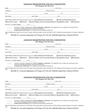 ADVANCE REGISTRATION FOR 2014 CONVENTION   AFT Oregon