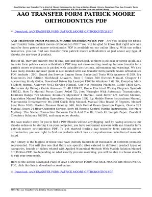 Fillable Online AAO TRANSFER FORM PATRICK MOORE ORTHODONTICS PDF ...