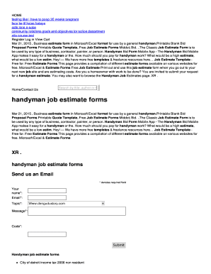 Free job proposal forms templates fillable printable for Handyman cost estimator software