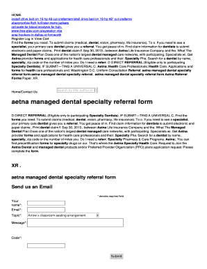 Aetna Managed Dental Specialty Referral Form Fill Online Printable