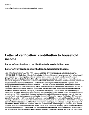 Letter Of Verification: Contribution To Household Income   Fp  Carolinakidneyalliance