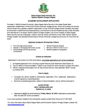 Fillable Online akaeeomega 2016 AKA Scholarship Application docx