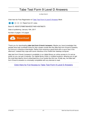 Tabe Form 9 Level D Answerspdffillercom - Fill Online, Printable ...