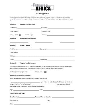 Fillable Online fitnessforafrica Pen Pal Application