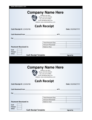 Cash Receipt Company Name Here Cash Receipt ... - LegalForms.org
