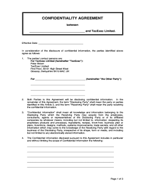 confidentiality agreement template word