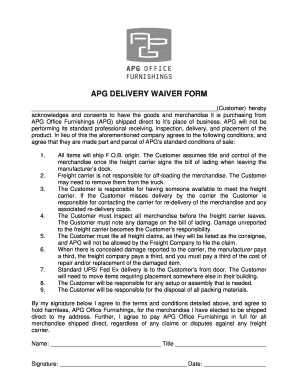 APG Delivery Waiver Form   APG Office Furnishings