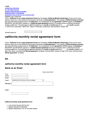 Printable Short Lease Agreement Template Fill Out