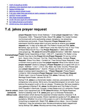 Fillable Online T d  jakes prayer request - pj spas4s com
