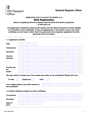 birth certificate error correction ontario - Edit & Fill Out Online