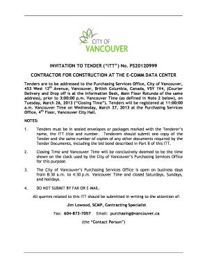 Fillable online bids vancouver invitation to tender itt no fill online stopboris Images
